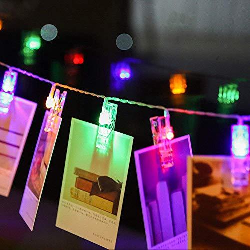 Clavijas de luces de fotos LED y cadena 20 Clips de luces de hadas de Led 3M / 9.8FT Baterías de interior, Marcos de fotos colgantes Decoraciones para bodas en el dormitorio, Batería de 3 * AA