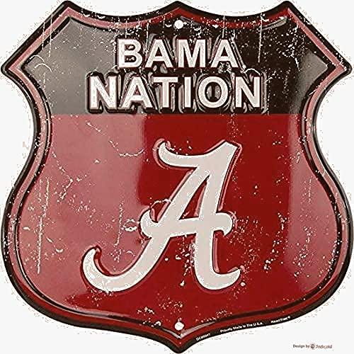 JINKAIRUI Cartel de estaño para decoración de pared del hogar, decoración vintage de granja, metal S 30,48 x 30,48 cm Alabama Nation Room Man Cave Cafe Plate Retro Signs