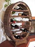 DanDiBo Casier à vin Tonneau à vin pour 24 Bouteilles Brun décapé Bar Porte-Bouteilles Tonneau Porte-Bouteilles