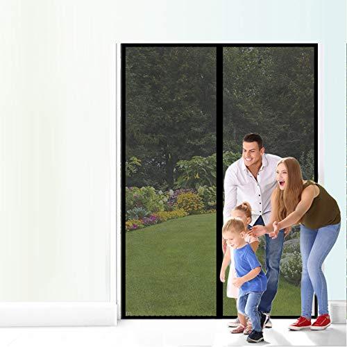 Yurun Fliegengitter Mit Magnet Insektenschutz, Klettband Selbstklebend Extra Stark Verschiedene Größen Auto geschlossen, für Türen/Patio, Schwarz 110x240cm