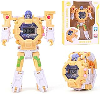 Alician 2 in 1 Robot Transformation Wristwatch Toy Unique Electronic Robot Watch for Boy Children Sport Watch Toys yellow