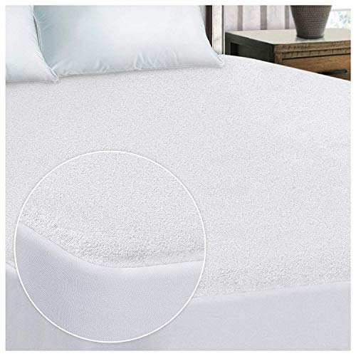 SleepyNights Terry Towelling Waterproof Mattress Protector Topper Single : Non Noisy (No Crinkle) Cotton Pile Top