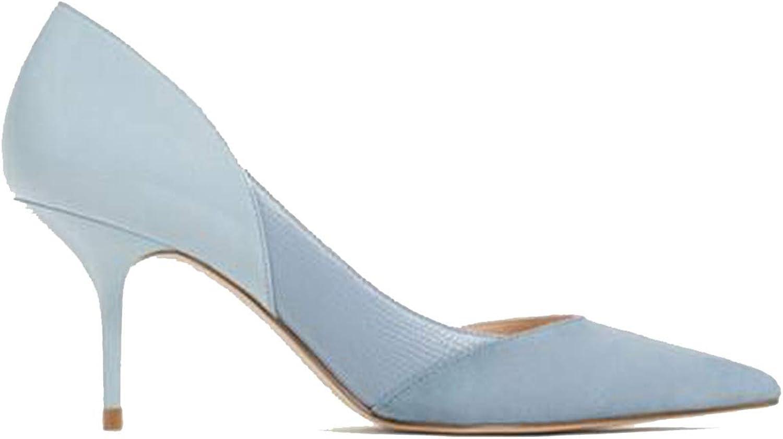 Mixed color Classic Women High Heels shoes 7cm Female Simple Women Pumps Heels Dress shoes bluee,6.5