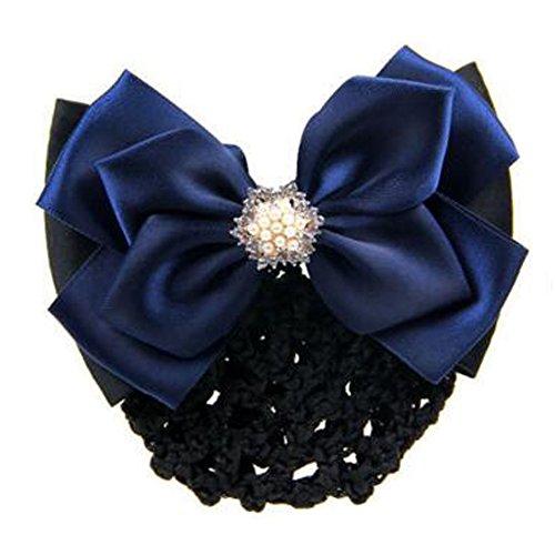 2 pcs bowtie maille cheveux barrette snood élastique coiffure coiffure pour les dames, Navy