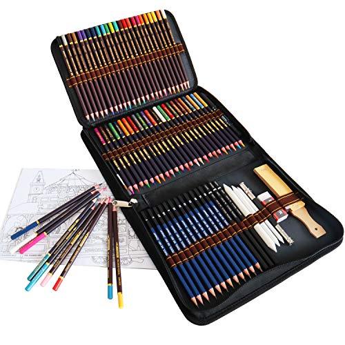 Matite Colorate da Disegno, Set da 72 includono Matite Acquarellabili, Matite Schizzi, Grafite, Matita Carboncino con kit di Matite Artistiche, ideali per Principianti Bambini Adulti