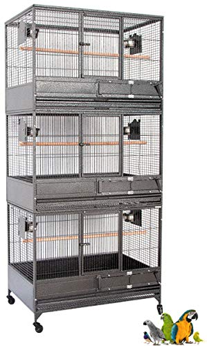 """Mcage 79"""" Extra Large Wrought Iron Triple Stacker Parrot Breeder Breeding Bird Cage with Roller with Stainless Steel Feeder Cups"""