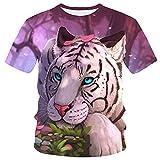 XDJSD Camiseta para Hombre Camiseta Corta De Manga Corta Camiseta De Gran Tamaño Top Tops Sueltos para Hombre Camiseta De Manga Corta con Cuello Redondo Y Estampado De Tigre para Hombre