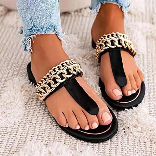 Hwcpadkj Zapatilla de Plataforma con cuña para Mujer, Sandalias de con Playa, Sandalias y Pantuflas con Cadena y Puntera Abierta,Negro,43