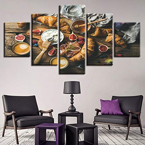Aicedu Kunstdruk op canvas, natuur, totaal, modulair, canvas, 5 stuks, voor levensmiddelen, honing en brood, schilderwerk, frame, decoratie, woonkamer, muur, modern, print L-30x40 30x60 30x80cm Frame