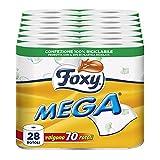 Foxy Mega | Papel higiénico de larga duración | 28 rollos | 500 hojas por rollo | Papel 100% certificado PEFC | Decorado | Paquete 100% reciclable