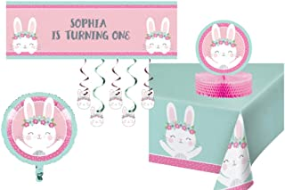 TLP Online Birthday Bunny Party Decorations - Bundle Includes: Customizable Banner, Danglers, Foil Balloon, Centerpiece, and Tablecover in Pink and Mint