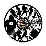 FUTIIF Football Américain Décor À La Maison Silencieux Quartz Horloge Murale Rugby Joueur De Football Silhouette Disque Vinyle Montre Sport Amant Cadeau avec LED