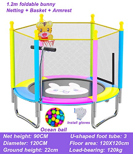 LGPNB 4ft trampoline and enclosure kids outdoor, Home children bounce bed, jump n'dunk trampoline with safety enclosure with handle, for Family School Entertainmen-Bunny with basket+handle