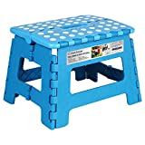 Folding Step Stool, Super Strong Plastic 9 Inch Step Stool for Kids and Adults with Handles (Black, 9 inch)