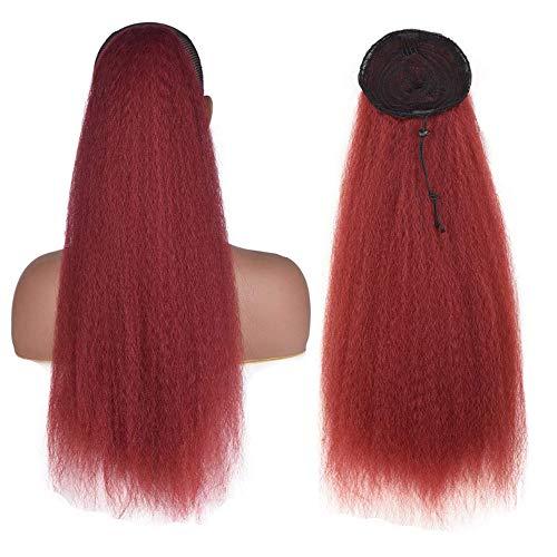 Kinky Straight Drawstring Ponytail Extensiones para mujeres negras YAKI rizado extensión del cabello dibujar cadena ponytail kinky peluca recta 22inch