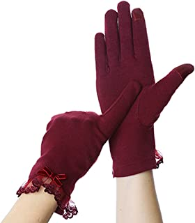 Winter Warm Gloves Solid Lace Velvet Gloves Wrist Length Mittens Gloves Proof Bicycle Driving Outdoor Warm Female Gloves L...