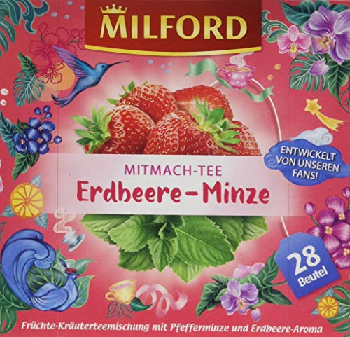 Milford Mitmach-Tee Erdbeere-Minze, 28 Beutel, 6er Pack (6 x 63 g)