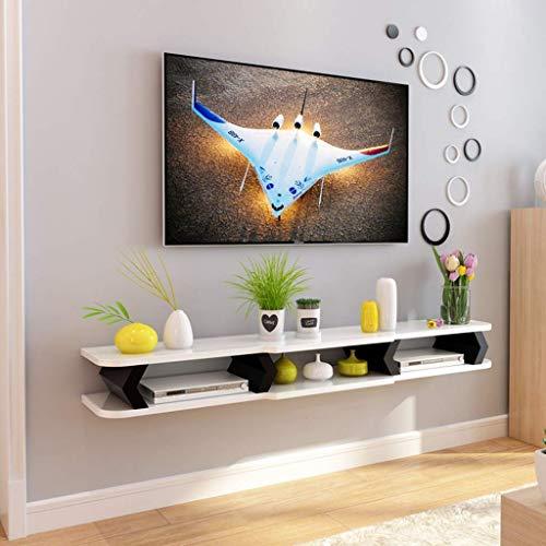 M-J Schwimmende Regal Wandhalterung Tv Schrank Wand Hintergrund Lagerregal für DVD/Blu-Ray Player Satelliten Tv Box Kabel Box, b, 110cm