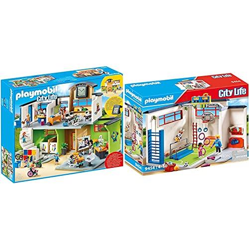 PLAYMOBIL 9453 Spielzeug-Große Schule mit Einrichtung & 9454 Spielzeug-Turnhalle