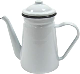 Rustic White Enamel Outdoor Camping Hot Coffee Tea Pot Vintage Farmhouse Kitchen Decor