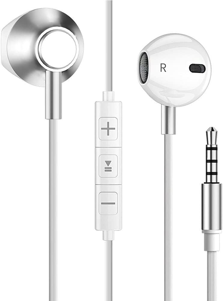 Auriculares con cable con micrófono, toma de 3,5 mm, bajos potenciados para escuchar música, salas de reuniones y juegos para iPhone/One Plus/Huawei/Xiaomi/Samsung