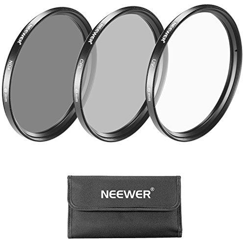 Neewer Kit Filtro de 49mm: Filtro UV/CPL/ ND4 + Bolsa para Cámaras Sony Alpha NEX con 18 – 55 mm, 55 – 210 mm, 50 mm, 16 mm, 30 mm, Lentes Canon EF 50 mm f/.1.8 STM