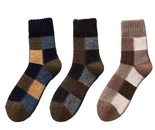 Jingyun 3 Paar Herren Herbst Winter Socken Warme Fluffing Socken Klassische Bequeme weiche Socken B08