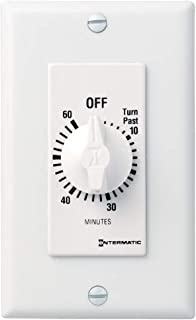 Intermatic FD60MWC 60-Minute Spring-Wound In-Wall Countdown Timer Switch for Auto-Off control of Fans and Lights, White