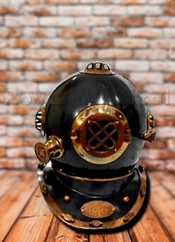 Nagina International Antiker dekorativer schwarzer Helm Antiker US Navy Messing Taucherhelm Mark V VOLLE GRÖSSE Deep sea Scuba Home Decor