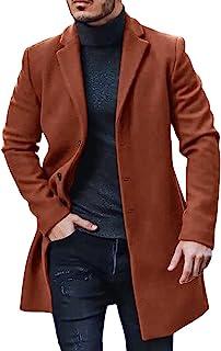 Mens Woolen Coat Trench Coat Thick Business Winter Regular Fit Long Jacket Windbreaker Outerwear