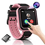 Kids Smart Watch Girls Phone Camera Selfie SOS Calling Smartwatch for Kids Waterproof IPX5 Games Touch Screen Alarm Sound Recorder Music Player Calculator 3-12 Years Old Boys and Girls