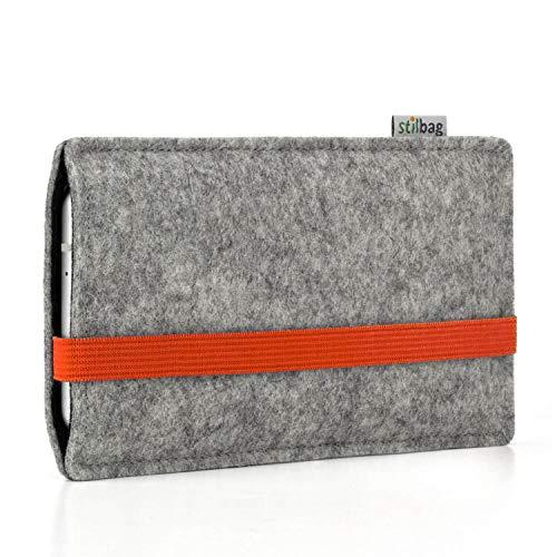 stilbag Handyhülle Leon für Motorola Moto G6 Play | Farbe: hellgrau/orange | Smartphone-Tasche aus Filz | Handy Schutzhülle | Handytasche Made in Germany
