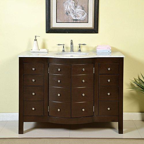 Silkroad Exclusive JB-0274-WM-UWC-48 White Marble Top Single Sink Bathroom Vanity with Bath Furniture Cabinet, 48', Dark Wood