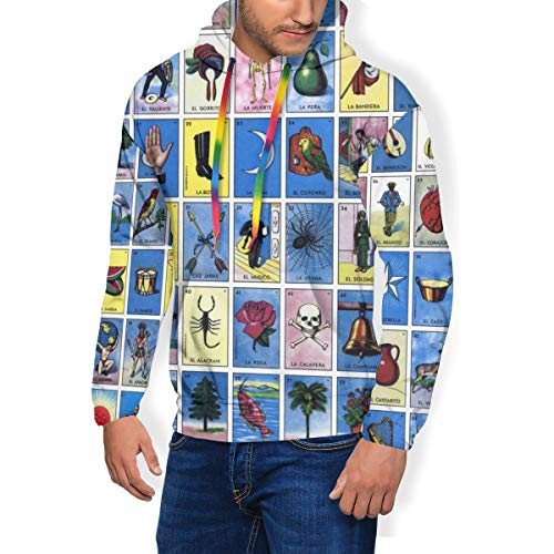 Bunte Tarotkarten, Astrologie, Unisex, Sweatshirt für Herren, Kapuzenpullover, 3D-Druck, Pullover mit Tasche Gr. Small, Schwarz