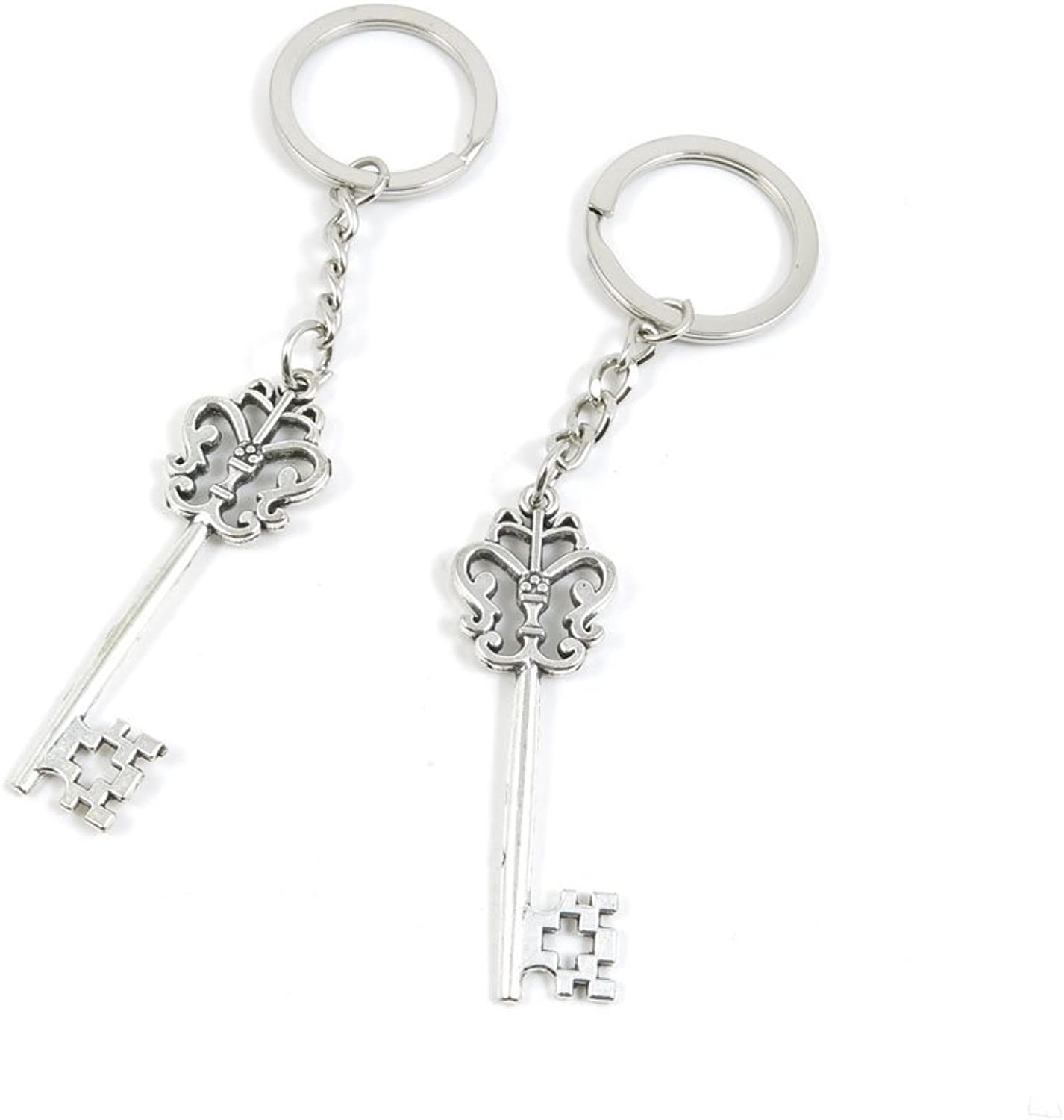 100 Pieces Keychain Keyring Door Car Key Chain Ring Tag Charms Bulk Supply Jewelry Making Clasp Findings S7LE5U Flower Skeleton Key