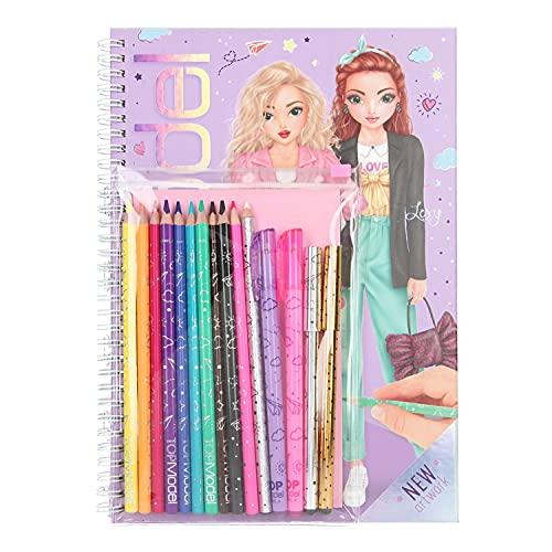 Depesche 11485 TOPModel - Malbuch-Set bestehend aus Ringbuch mit 76 Malseiten, 2 Sticker-Bogen, 4 Gelstiften, 10 Buntstiften und 1 Radierstift