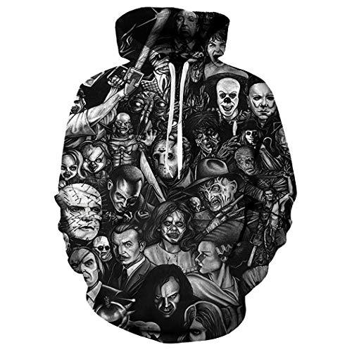 Kapuzenpullover mit 3D-Druck, Unisex, Galaxy, atmungsaktiv, Sweatshirt für Teenager Gr. S-M, Crânes