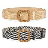 2 Pack Wide Waist Belts for Women, Fashion Elastic Woven Rattan Womens Belts for Skinny Dress