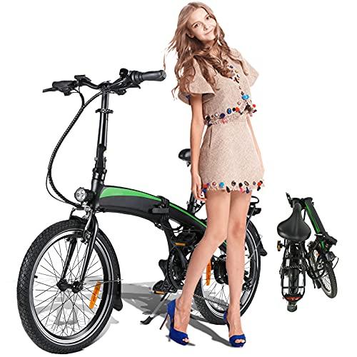 Vicicleta Eléctrica, 350W 36V 10AH/Motor Bicicleta Plegable 25 km/h, 3 Modos de...