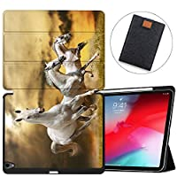 MAITTAO Built-in Apple Pencil Holder For iPad Pro 11 Case 2018 Release A1980/A2013/A1934/A1979, Folio Leather Stand Smart Cover With Auto Sleep/Wake For Apple iPad Pro 11 Inch,Akhal-Teke Horse 9