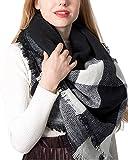 PIKABU Damen Karoschal - XXL Winter Schal Karo Tartan übergroßer Warmer Schal Kariert Quadratisch Deckenschal für Damen Weihnachtsgeschenke