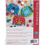 Dimensions Needlecrafts Felt Applique Christmas Sweater Ornament Craft Kit, 3 Pc