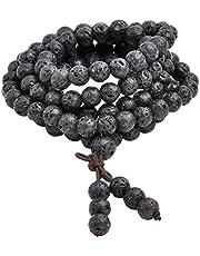 Jovivi, braccialetto Mala tibetano con 108 perline di pietra lavica naturale da 6 mm e 8 mm, collana per preghiera buddista