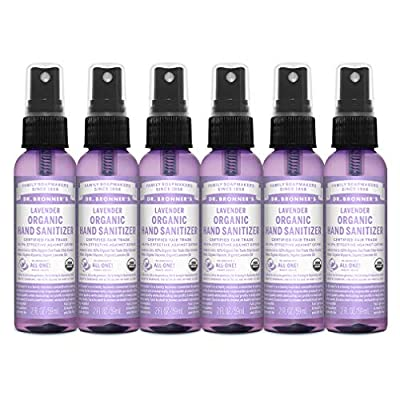 Dr. Bronner's - Organic Hand Sanitizer Spray (Lavender, 2 ounce, 6-Pack) - Simple and Effective Formula, Kills Germs and Bacteria, No Harsh Chemicals, Moisturizes and Cleans Hands