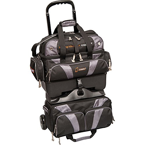 Hammer Premium 4-Ball Stackable Bowling Bag, Black/Carbon