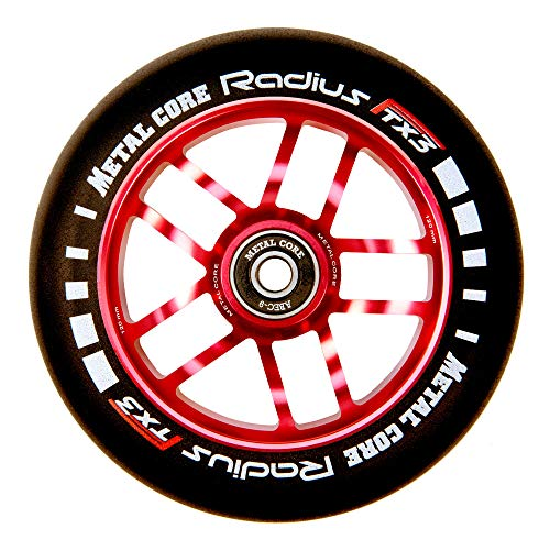 Metal Core Rueda Radius para Scooter Freestyle, Diámetro 120 mm (Rojo)