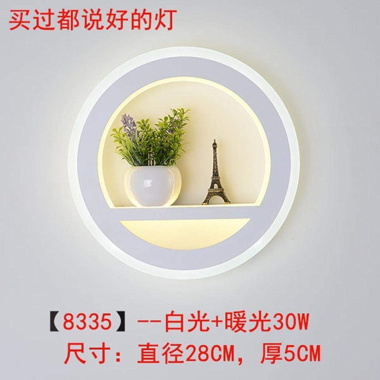 Bcagfkasf Wandleuchte LED im Freien wasserdicht einfache Innenbett Wohnzimmer Schlafzimmer@8335-30 W (weies Licht + warmes Licht)