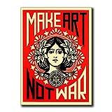 Make Art Not War Shepard Fairey Poster Vintage Wall Art...