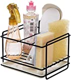 ZYNATY Kitchen Sink Caddy on Coutertop Adhesive Sponge Holder Soap Brush Organizer Rack with Drain Pan, Dishwasher Liquid Shower Gel Storage Rack for Kitchen and Bathroom