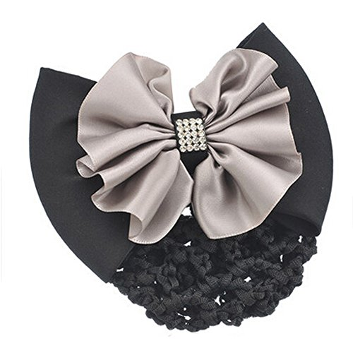 Mode Snood Net Hair Pin Bow Tie Spring Clip Clip Barrette cheveux, Gris